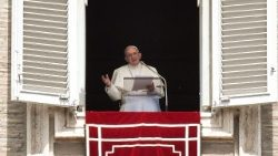 Pope Francis addresses the pilgrims in St. Peter's Square for the Regina Coeli