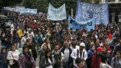 Members of Trade Union organizations in Argentina take part in Buenos Aires May Day marches