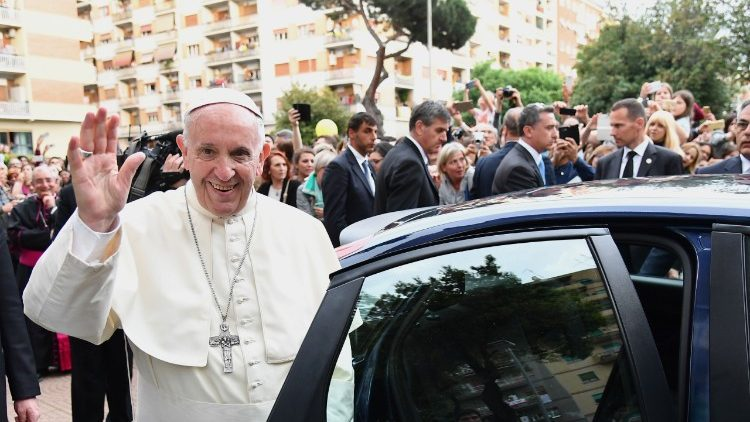 Pope Francis visited the Most Holy Sacrament parish of Rome's suburb of Tor de Schiavi on May 6, 2018.