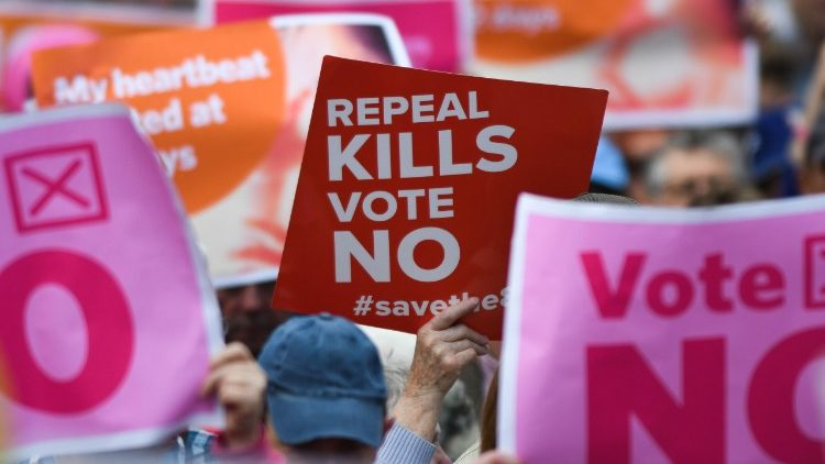 People attending a rally calling for a 'No' vote in Ireland's abortion referendum