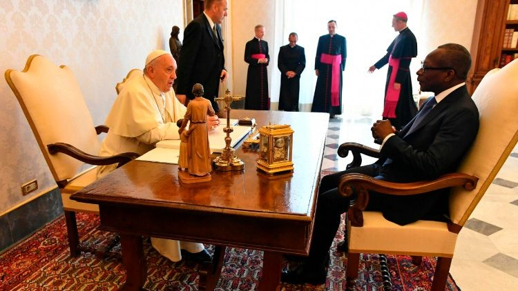 Pope Francis with Benin's President Talon