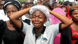 Mourners at a funeral for Christians murdered by Islamic militants in Nigeria