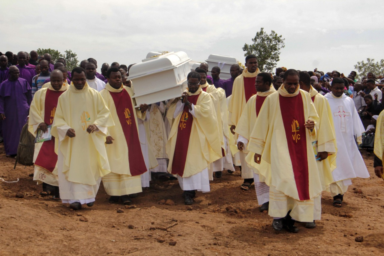 The funeral of 2 priests allegedly killed - together with 17 parishioners - by Fulani herdsman in Gwer East district of Benue State in April