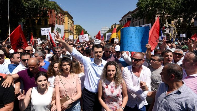 The leader of the Albanian opposition Democratic party during a rally in Tirana
