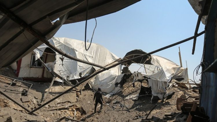 Damage caused by an Israeli air strike in the southern Gaza strip