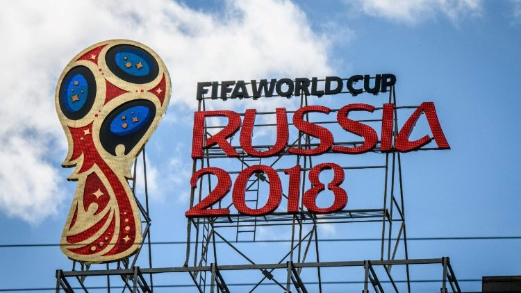 The 2018 FIFA World Cup logo on a building in Moscow