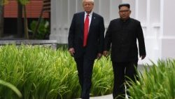 US President Donald Trump and North Korean leader Kim Jong-un walk down path together