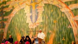 Pope Francis takes part in an ecumenical meeting at the WCC in Geneva