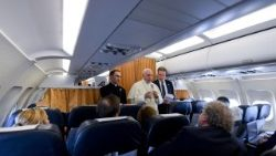Pope Francis fields questions from journalists on board the return flight from Geneva to Rome.