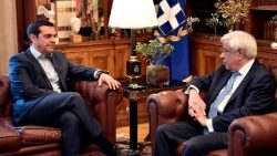 Greek Prime Minister Alexis Tsipras (L) with President Prokopis Pavlopoulos