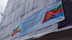 A banner of welcome to the Eritrean delegation in Addis Ababa
