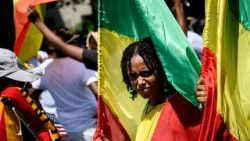 A young Ethiopian woman in national colours