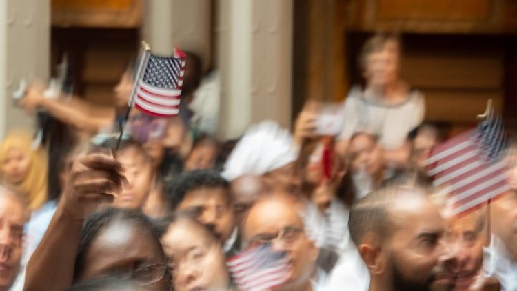 200 new US citizens from 50 countries are welcomed by US Citizenship and Immigration Services July 3, 2018 in New York City