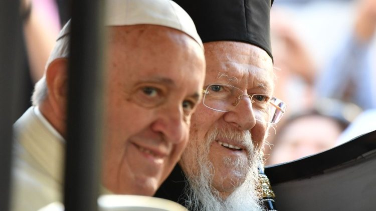 Pope Francis  with Ecumenical Patriarch Bartholomew of Constantinople.