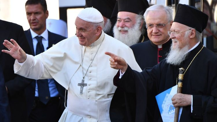 Pope Francis and other Christian leaders during a Ecumenical Prayer for Peace event in Bari