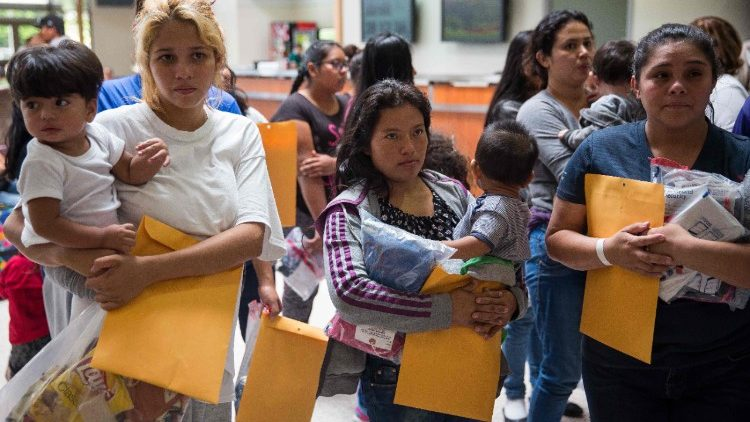 Immigrants heading to Catholic Charitiesin McAllen, TX after being released from detention