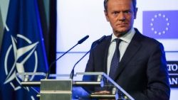 European Council President Donald Tusk holds a press conference on the eve of the NATO summit