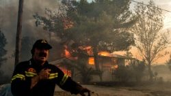 A firefighter in Kineta, near Athens