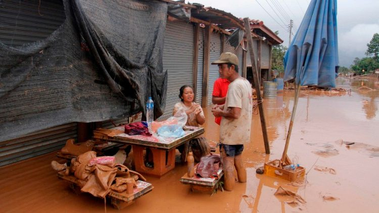 Residents of a village in Attapeu province of Laos after the dam disaster.