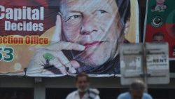 A poster of Imran Khan who is set to become Pakistan's new prime minister.
