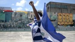 A Nicaraguan man takes part in protests in Leon