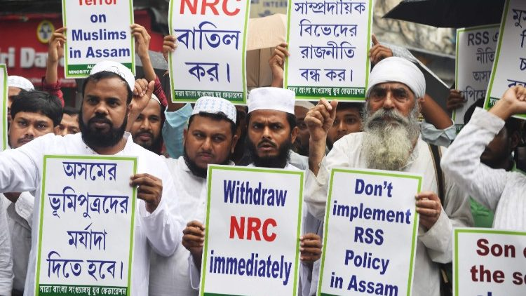 A protest rally against the draft list of the the National Register Citizens (NRC).