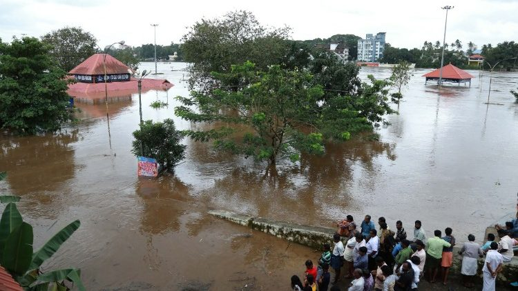 Torrential monsoon rains triggered floods and landslides in Kerala state, India.