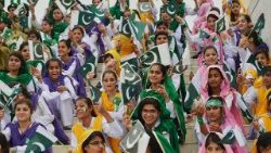 Pakistani students marking the country's 72nd Independence Day on August 14, 2018.