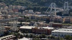 A view of the collapsed section of the Morandi bridge in Genoa, Italy
