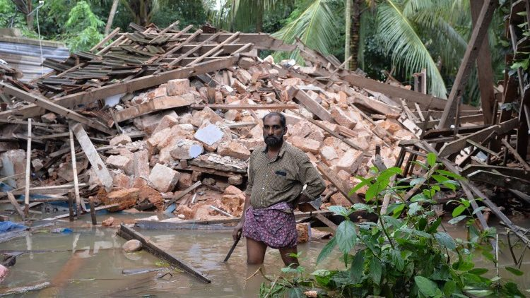 All what remains of the home of Ajith Prasad in the rains and floods in Kerala, India.