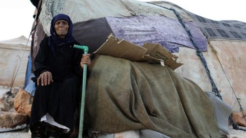 An elderly woman at a camp for displaced from Idlib.