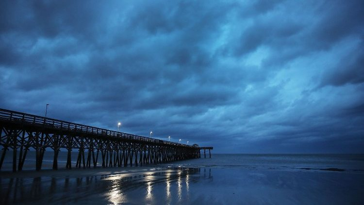 Hurricane Florence is hitting the coastline of North and South Carolina, US.