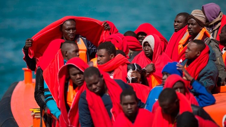 rescue of migrants by the Red Cross off the Spanish coast