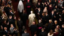 Pope Francis arrives at the Lutheran Cathedral in Riga for an Ecumenical Meeting