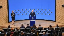 The NATO Secretary General addresses a press conference ahead of a NATO defence ministerial meeting