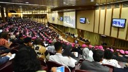 Pope Francis addressing Synod Fathers, experts and Young People from around the world in the Synod Hall