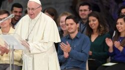 Pope Francis with youth people during Youth Synod
