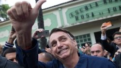 Brazil's candidate for the Social Liberal Party, Jair Bolsonaro after casting his vote, October 7th