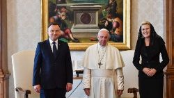 Pope Francis met Polish President Andrzej Duda and his wife in the Vatican on October 15, 2018.