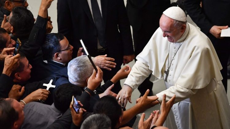 Pope Francis meets with pilgrims from El Salvador. Vatican, October 15th
