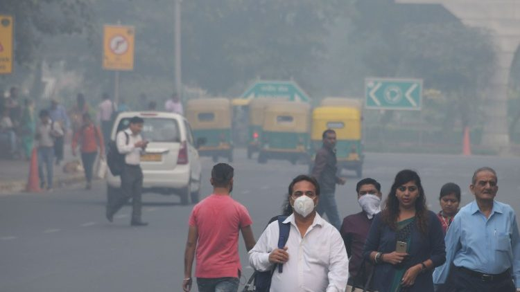 Heavy smog covering New Delhi, India.