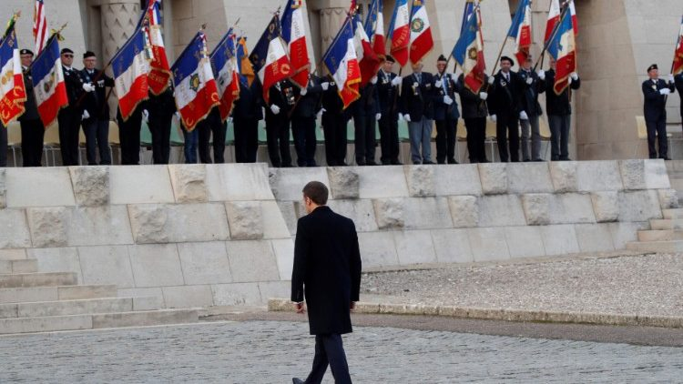 French President, Emmanuel Macron arrives at a ceremony to mark the centenary of World War I