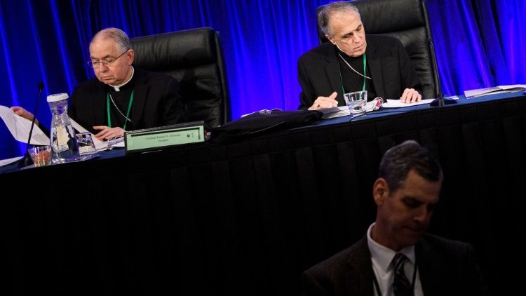 Cardinal Daniel DiNardo and Archbishop José Gomez at the USCCB Fall General Assembly