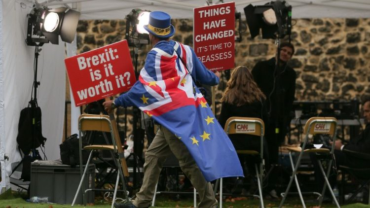 Anti-Brexit campaigner on College Green, near the Houses of Parliament