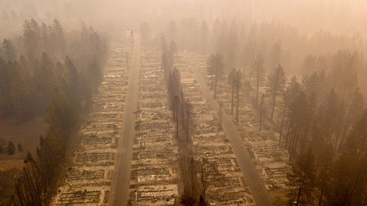 Aerial view of the city of Paradise, scorched by the deadliest blaze in California history
