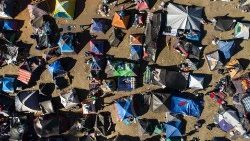 Aerial view of temporary housing for Central American migrants now in Tijuana in the Mexican state of Baja California