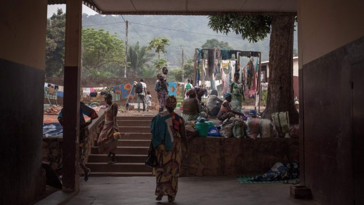 Photo prise à l'extérieur de l'hôpital pédiatrique de Bangui, en décembre 2018.