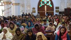 Christians in a Church in Peshawar, Pakistan.