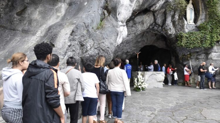 at the grotto of Blessed Virgin Mary of Lourdes