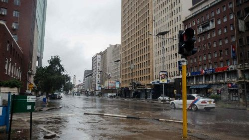 In the aftermath of protests in Zimbabwe: A deserted street in the capital, Harare